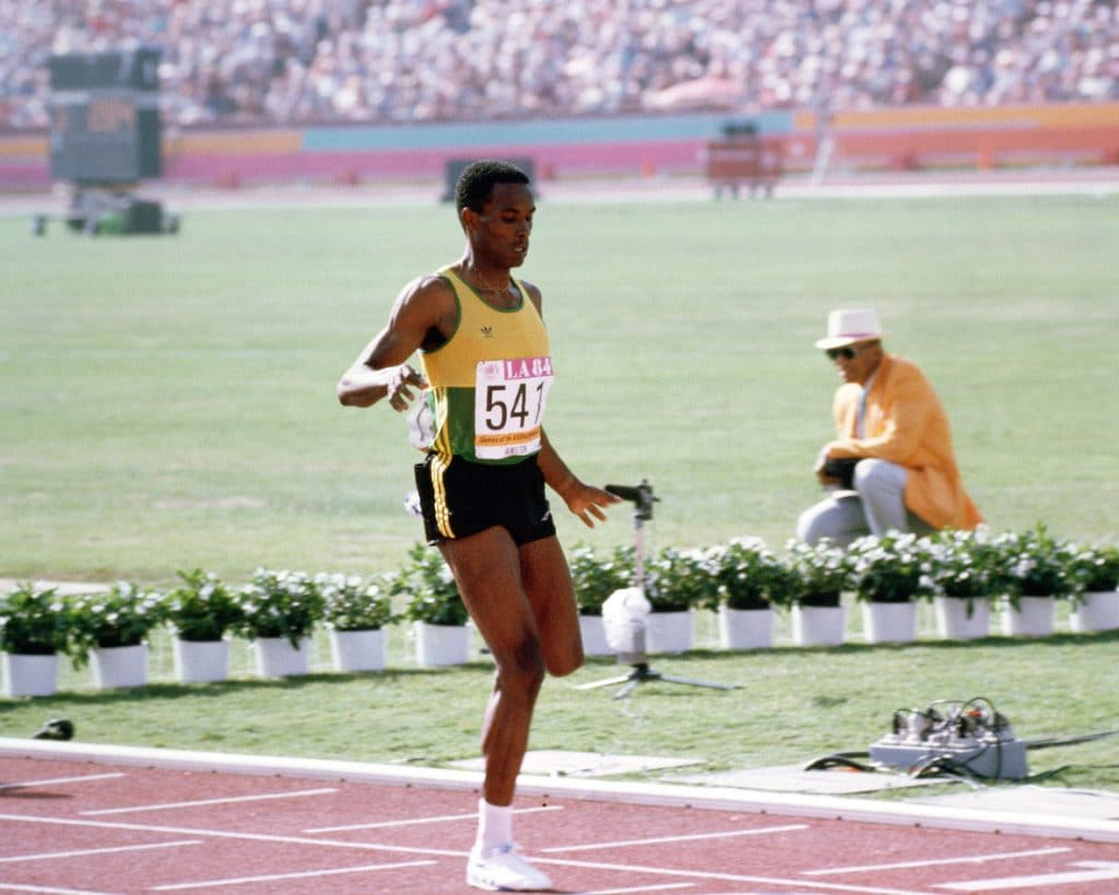 Airman 1st Class Owen Hamilton from Wright-Patterson Air Force Base, Ohio, is a representative of the Jamaican track ands field team competing at the 1984 Summer Olympics.